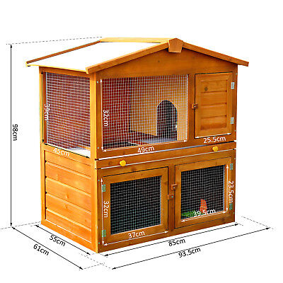 WOODEN RABBIT GUINEA PIG FERRET HUTCH HOUSE Outdoor Pets CAGE PEN WITH BUILT IN