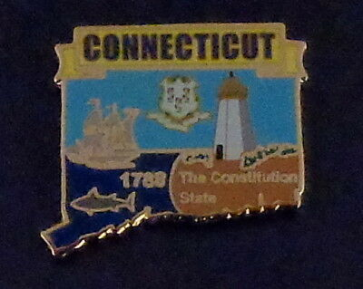 Connecticut State Shaped Map Lapel Pin CT Constitution State Whale Lighthouse