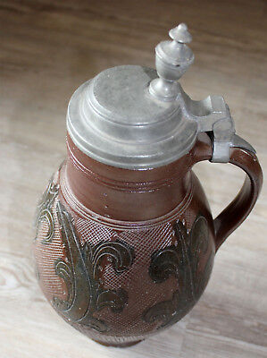 Old Pitcher Muskau with Tin Lid Around 1800 Lausitz Stoneware