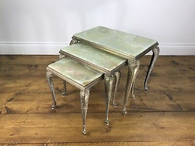 Stunning French Marble and Brass Nest of Tables - Vintage Retro Antique Coffee