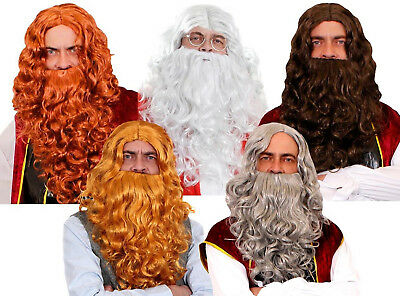 Long Curly Wig And Beard Set Adults Men Fancy Dress Accessory Costume