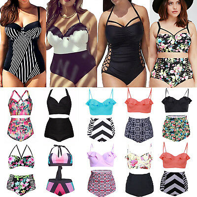 Plus Size Women High Waist Padded Bra Bikini Summer Swimwear Swimsuit Bathing 16