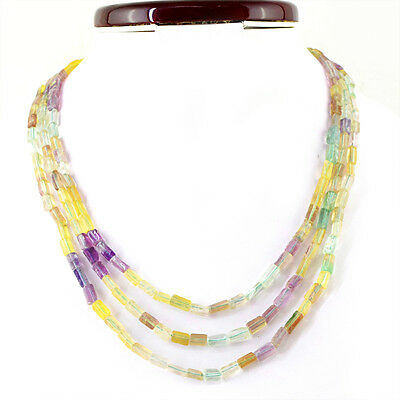Genuine 299.60 Cts Natural 3 Line Multicolor Fluorite Beads Necklace (Rs)
