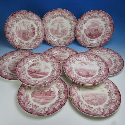 Wedgwood China - Harvard University - 12 Red Collector Cabinet Dinner Plates
