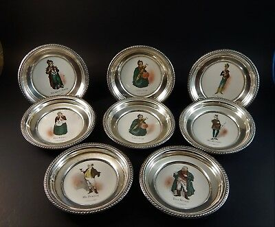Rare Set 8 Amston Sterling Silver Delano Studios Charles Dickens Dishes 4.5""