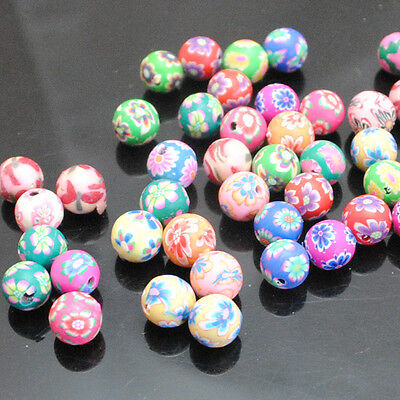 100pcs Assorted Fimo Polymer Clay Round Beads( Hole 1mm) Findings 8-12mm