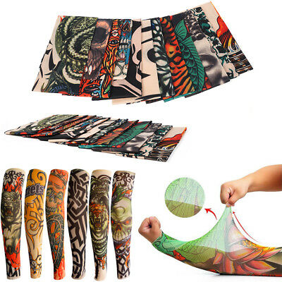 12 Designs Mens Women Fake Tattoo Arm Warmers Sleeves Temporary Tattoo Sleeve