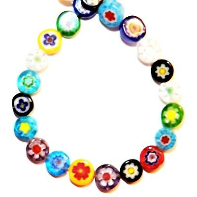 """G4513 Assorted Color Single Flower 6mm Flat Round Coin Millefiori Glass Bead 16"""""""
