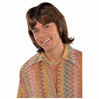 70's 1970s Disco Fever Hearthrob Wig Donny Osmond Mens Fancy Dress Costume