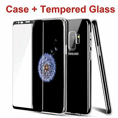 For Galaxy S8 S9 Plus Note 8 9 Clear Case + Tempered Glass Screen Protector