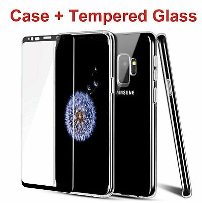 For Samsung Galaxy S9 / S9 Plus Clear Case + Tempered Glass Screen Protector