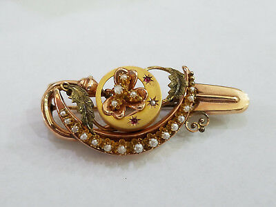 Antique Solid 14k Yellow Gold Pearl & Ruby Brooch