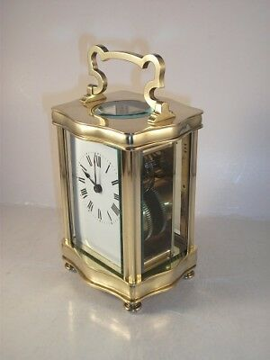 "Genuine antique brass and 5-glass ""Louis XV Doucine"" cased carriage clock & KEY."