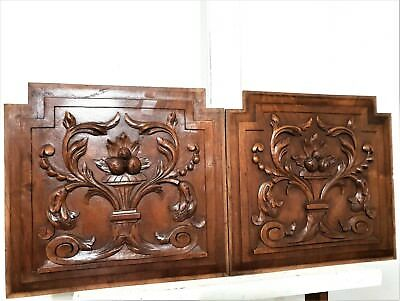 Pair Scroll Leaves Panel Antique French Hand Carved Wood Architectural Salvage