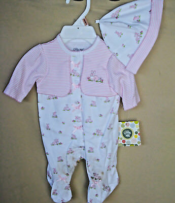 LITTLE ME 100% Cotton White Print Baby Bunnies Footie w/Matching Hat  NWT
