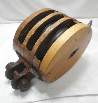 Vintage Wooden Ship's Pulley Three Wooden Wheels Japanese Extra Large #196