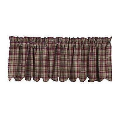 New Primitive Country Green Wine Burgundy Everson Plaid Curtain Valance