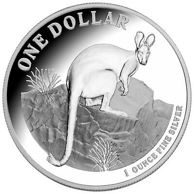 2010 Australia 1oz Silver Kangaroo Proof Coin - Yellow Footed Rock Wallaby