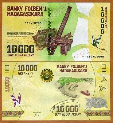 Madagascar, 10000 (10,000), Ariary 2017 P-New UNC > Completely Redesigned