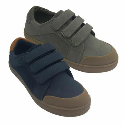 Boys Shoes Grosby Davi Casual 3 Hook and Loop Skate Shoe Navy or Tan Size 6-12
