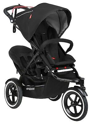 Phil & Teds Sport Inline Twin Baby Double Stroller w/ Second Seat Black NEW