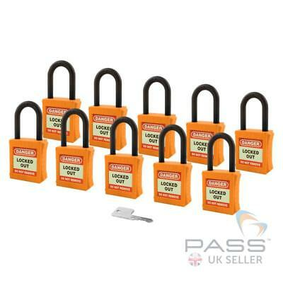 Lockout Insulated Padlock - NYLON Shackle - Key Alike (Orange Pack of 10)