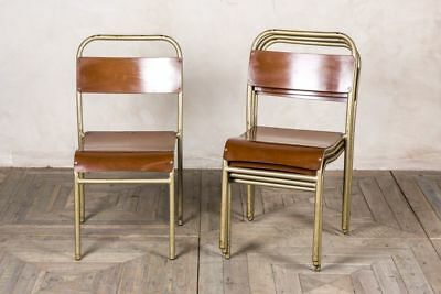 Gold Stacking Chair Vintage Retro Stackable Dining Chairs Restaurant Chair
