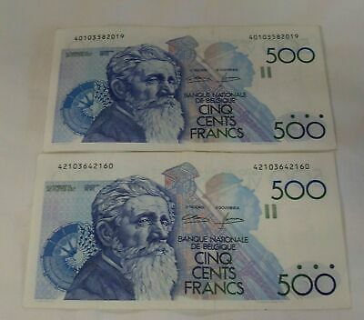 "Belgium 1980/1981  500  Francs Banknotes x 2, ""VF+"" Condition"