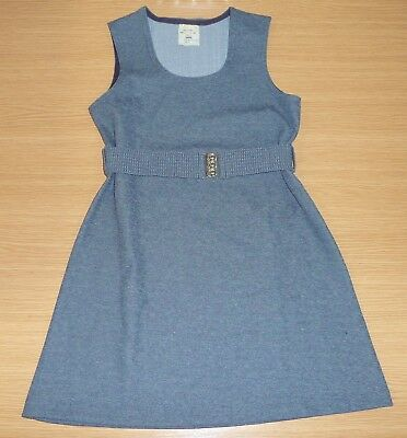 Vintage Unworn Girls Grey Pinafore School Dress With Waspie Belt Age 8-9 Years