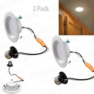 """Commercial Electric 4"""" White Recessed LED AC Metal Downlight w/ 10 Watts 2 Pack"""