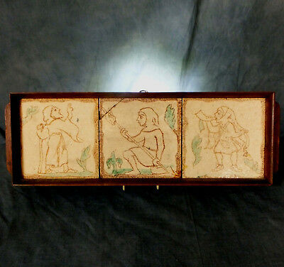 3 Very Rare & Quite Early Mounted Medievalist Carter Tiles