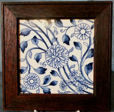 Superb Framed Minton Aesthetic Movement Blue & White Tile