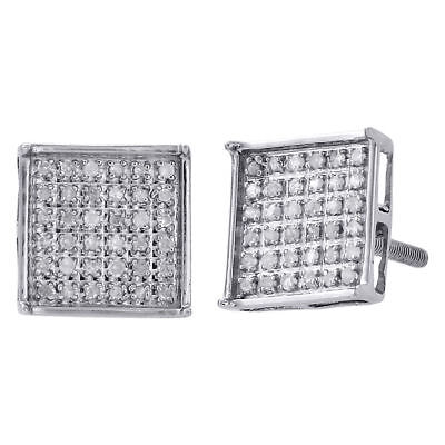 .925 Sterling Silver Diamond Studs Small 9mm Square 4 Prong Earrings 0.25 Ct.