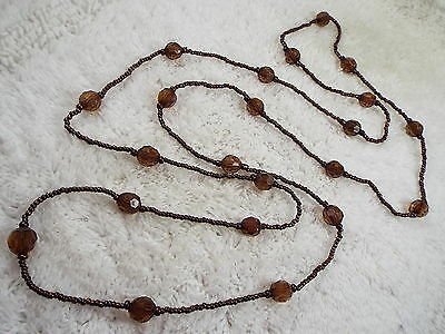 Bronze Glass & Amber Acrylic Bead Necklace (B19)