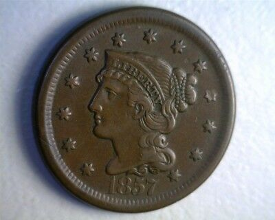 ICOIN - 1857 Large Date Braided Hair Large Cent