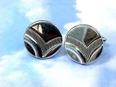 f9cb9c6cf003 MEN'S VINTAGE SWANK Cufflinks Art Deco Design / Silver Tone Disc ...