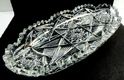 Antique VTG American Brilliant Period Star Cut Crystal Glass Lace Oval Bowl dish