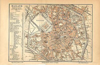 1892= MILANO = Antica MAPPA= OLD MAP