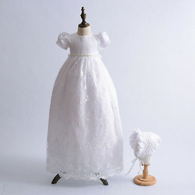 Girls Lace Christening  Long Gown Bonnet White Ivory 0-3 3-6 6-9 Months