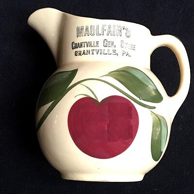 Grantville PA General Store Advertising Large Watt Pitcher  Apple 7 inches NMint