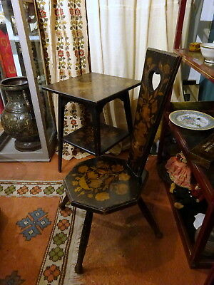Arts & Crafts Pyrography Painted Spinning Chair & Table