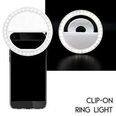 Rechargeable 36 LED Clip On Selfie Phone Ring Light Night Fill-in iPhone Android