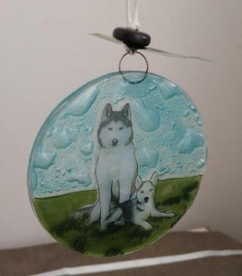 Siberian Husky Dog w Puppy Fused Art Glass Ornament Ecuador WFTO Fair Trade