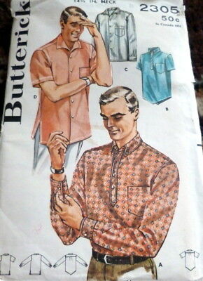 VTG 1950s MENS SHIRT BUTTERICK Sewing Pattern SMALL CHEST 34-36