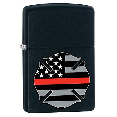 Zippo 29553, Firefighter-Red Line, Black Matte Finish Lighter, Full Size
