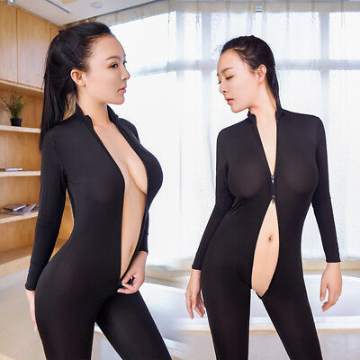 Women Striped Sheer Bodysuit Zipper Long Sleeve Open Crotch Jumpsuit Romper ca