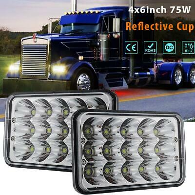 "2×4x6"" 75W LED Headlight Hi/Lo Beam DRL Clear Sealed Beam Fit Peterbilt Kenworth"