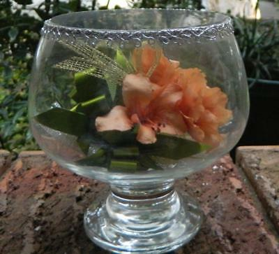 VINTAGE Pasabahce Quality Glass Made In Turkey Fake Flower in Glass