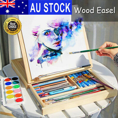 AU Portable Folding Table Easel Wood Artist Easel Painting Stand Craft w/Drawer