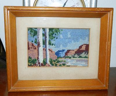 VINTAGE 1950s-60s Charming Wooden Framed Original Tapestry Picture